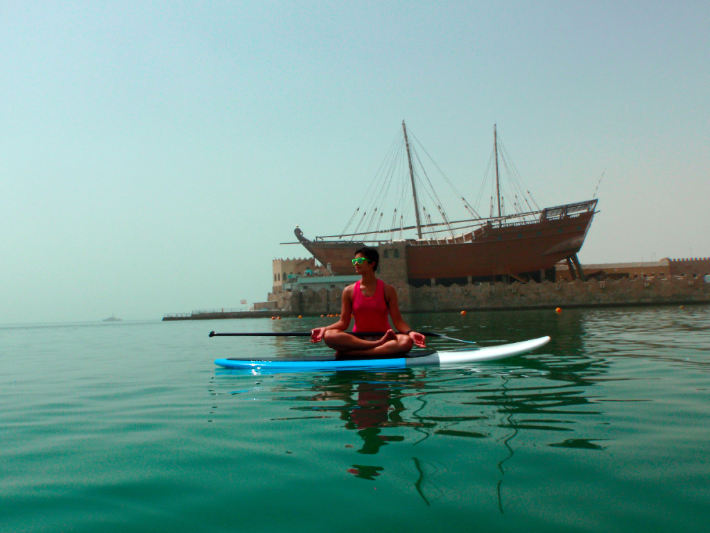 Paddle-board-yoga-beach-kuwait